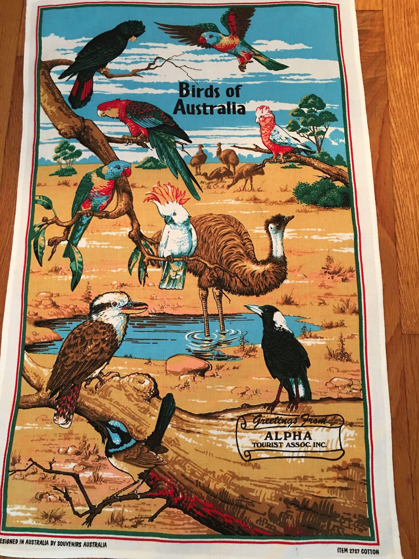 Vintage Birds Of Australia Cotton Tea Towel Souvenir Tea Towel