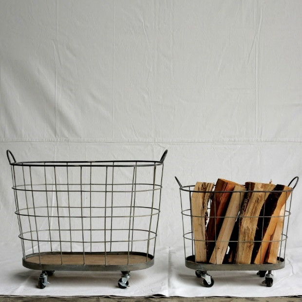 Metal Rolling Laundry Baskets, Set of 2 images