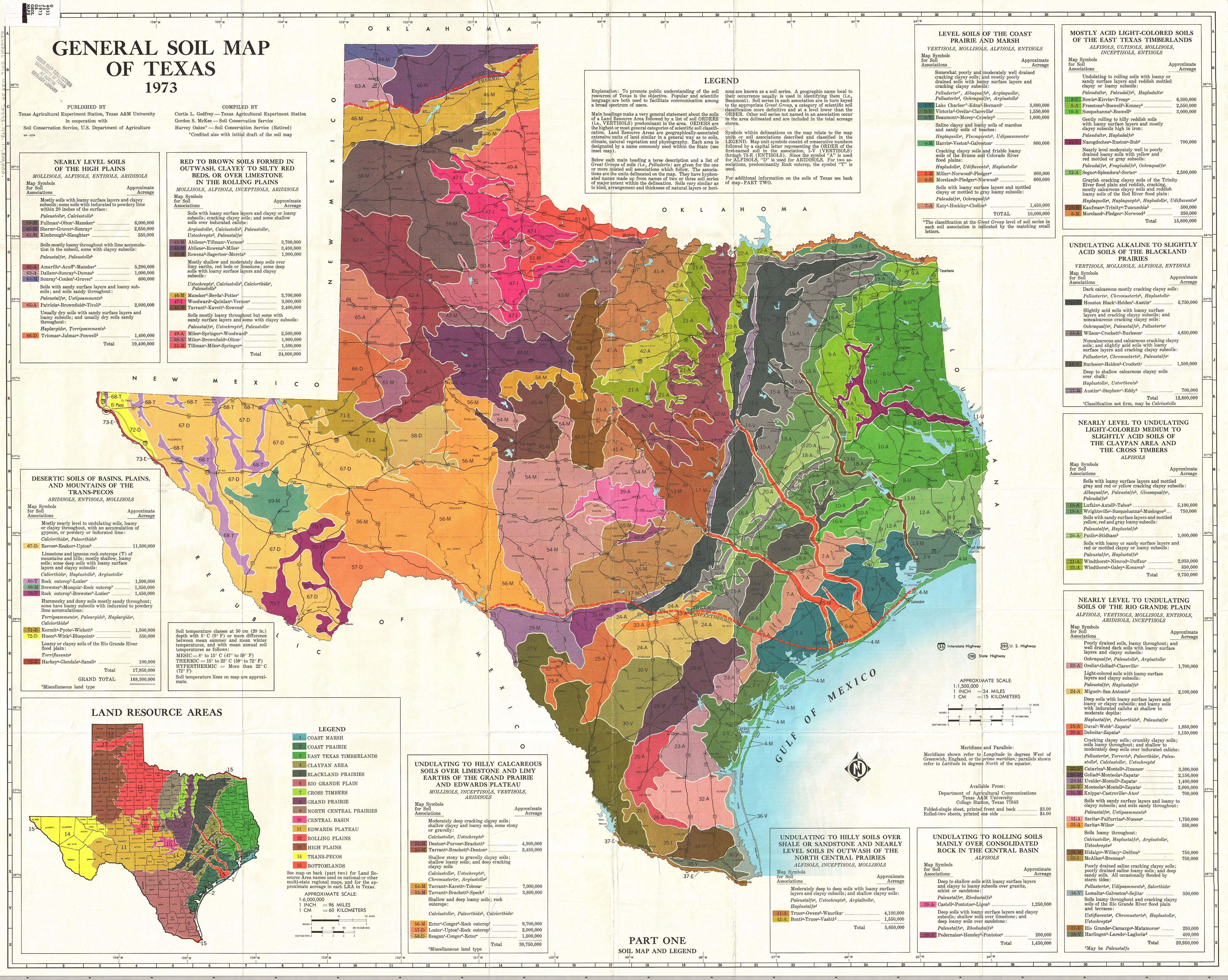 Texas Soil Map 1973 General Soil Map of Texas, produced by Texas A&M | Texas map