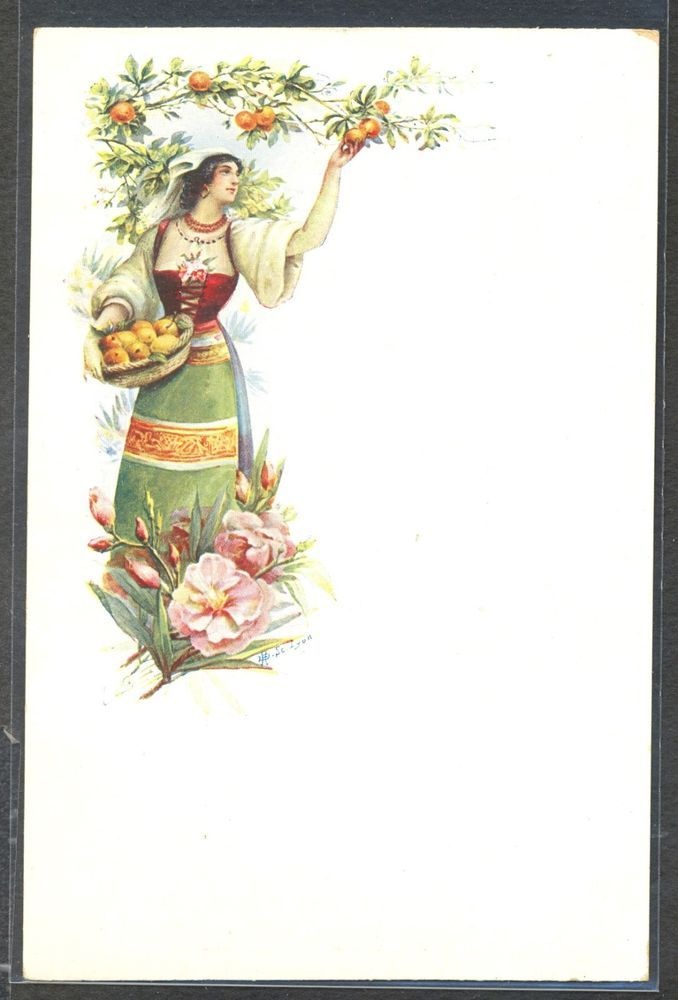 NZ063 ART NOUVEAU BEAUTIFUL LADY picking FRUITS CARNATIONS LITHO undivided back