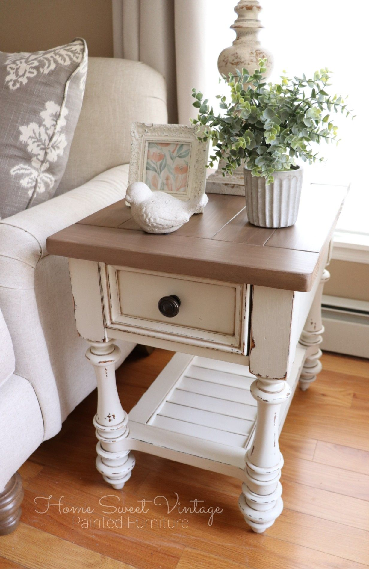 Farmhouse End Table By Home Sweet Vintage Painted Furniture Finished In Dixie Belle Farmhouse End Tables Table Decor Living Room Side Table Decor Living Room