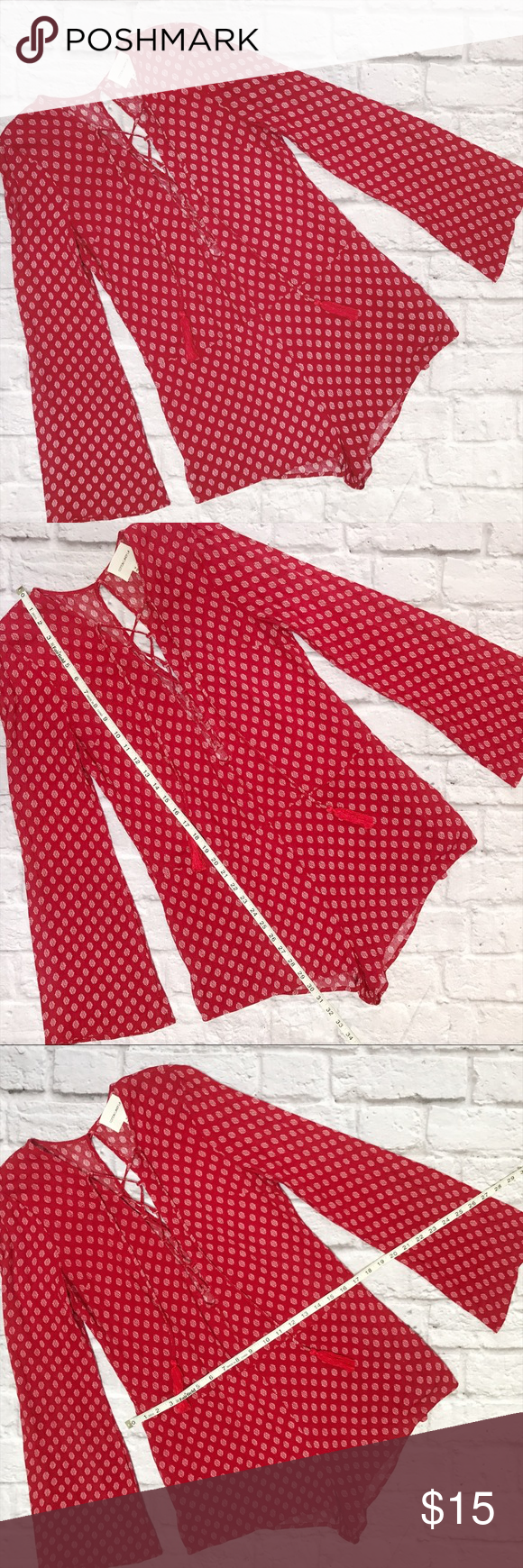 Long sleeve red print romper lace dress neckline and printing