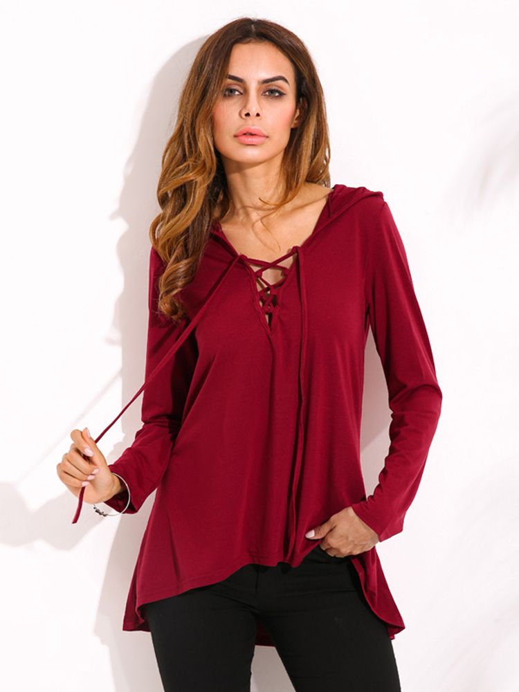52c57ad0589 US$15.89 Sexy Loose Women Solid Lace Up V Neck Long Sleeve Hooded T ...