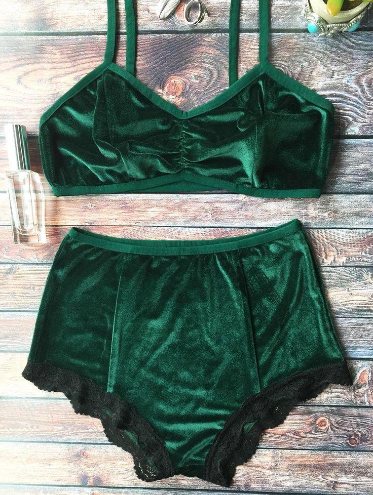 4abc75ff30b7c7 Lace Hem High Waisted Velvet Bra Set - BLACKISH GREEN M