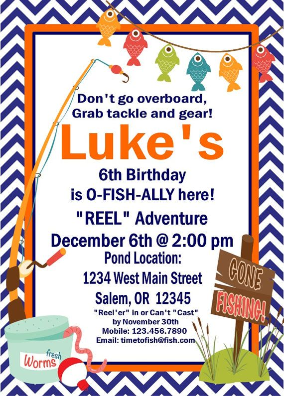 GONE FISHING Happy Birthday Party or Baby Shower Invitations Set of - fresh invitation for birthday party by email