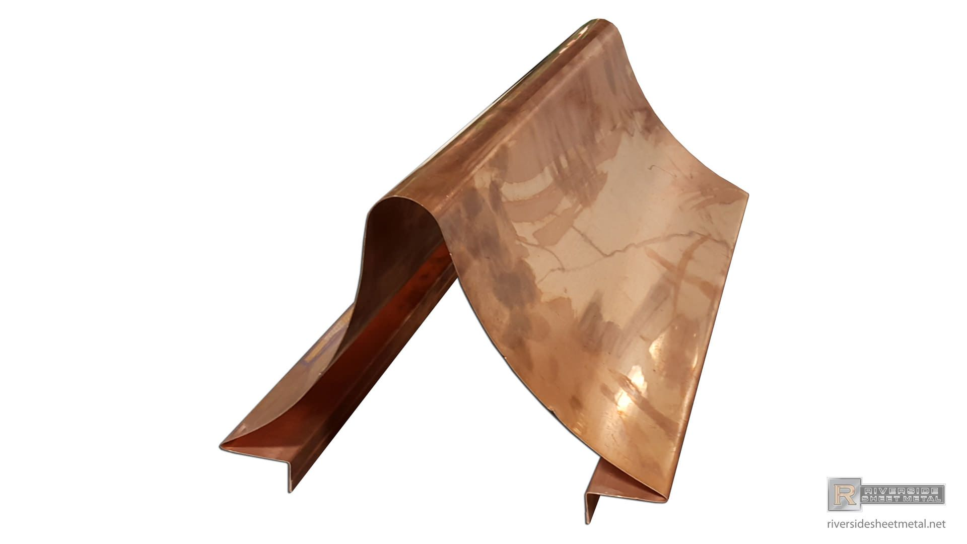 Custom Radius Copper Ridge Cap Example View 1 Butterfly Chair Copper Roofing