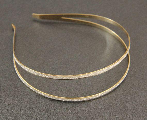 Gold Double Headband Sparkly Band Bridal Hairband