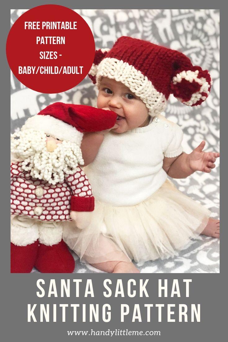 Free Santa Hat Knitting Pattern   Holiday knitting ...