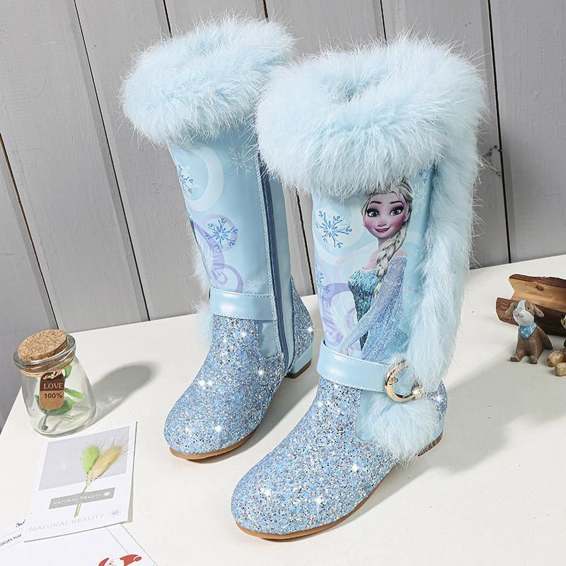Toddler Infant Kid Girl Baby Princess High Top Shoes Winter Leather Long Boots T
