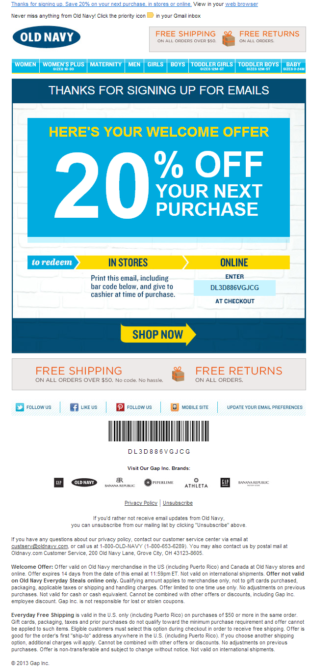 Old Navy Welcome Email Subject Line Your Welcome Offer Take 20 Off Welcome Emails Online Printing Welcome