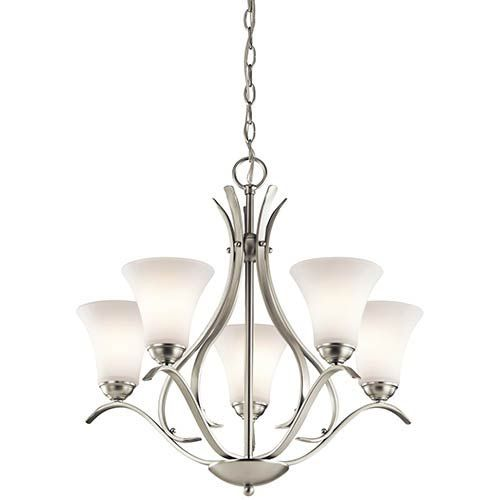 You'll love how this five-light chandelier from the Keiran (TM) Collection blends traditional and soft touches to create a stylish look all its own. The smooth curves of the simple lines seem to caress the Satin etched glass as it holds it aloft. The perfect addition to any décor. - Bulb Socket Type: Medium E26 - Chain Length: 72 inch - Bulb (s) not included Kichler - 43504NI | Kichler 43504NI Keiran Five-Light One Tier Medium Chandelier in Brushed Nickel - Brushed Armed, Transitional | Bellacor