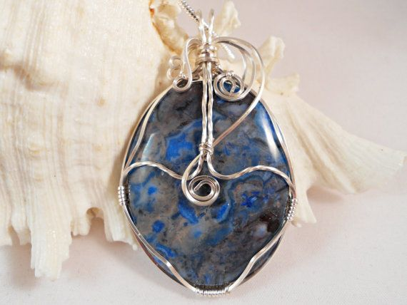 Blue Mexican Agate Wire Wrapped Necklace Handmade by elainesgems, $24.50