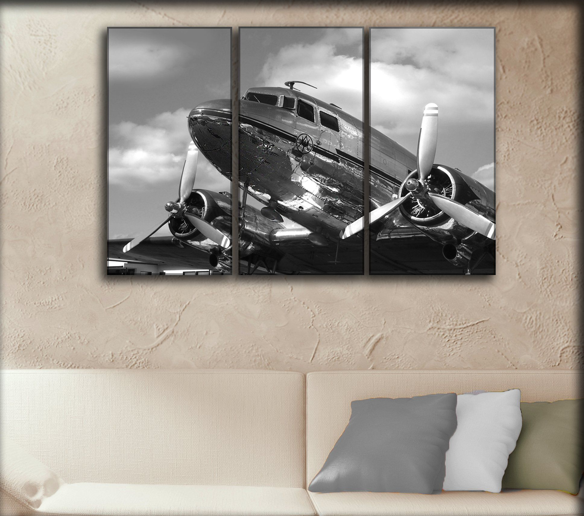 3 Panel Dc3 Dakota Airplane Canvas Art Aircraft Canvas Wall Art Vintage Plane Picture Propeller Wall Canva Wall Art Prints Canvas Wall Art Propeller Wall