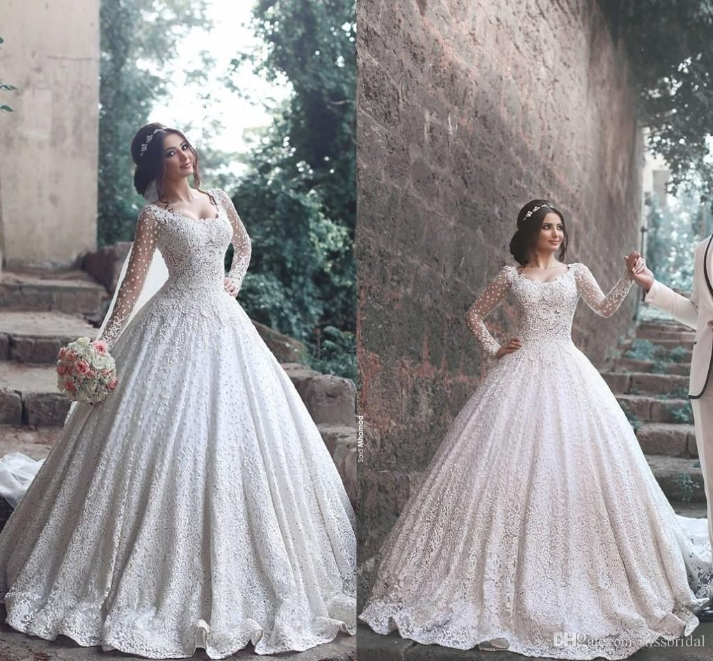 Long sleeve ball gown wedding dress dresses for guest at wedding