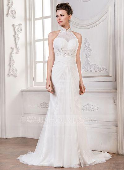 Vestidos de novia corte sirena cuello halter
