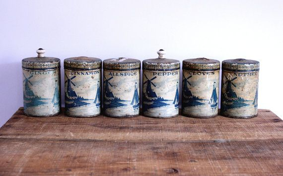 Vintage Metal Spice Canisters  Blue Delft Pattern by riceandbell, $29.95