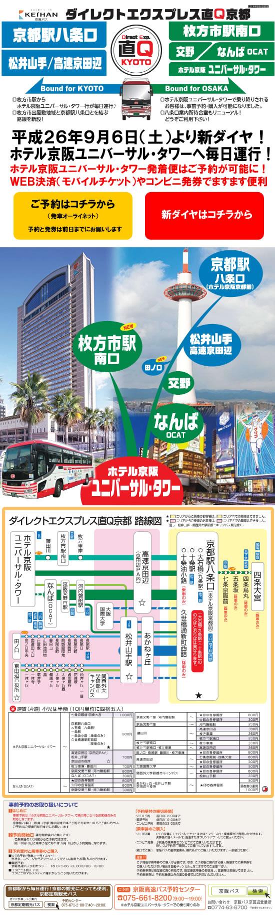 直通急行バス 路線の案内:高速バス:京阪バス株式会社