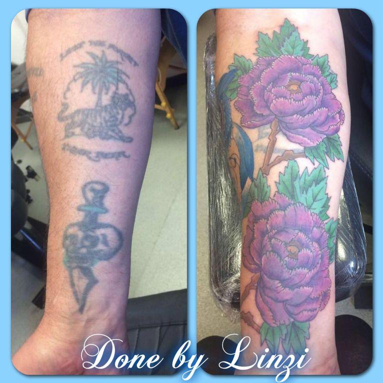 Tattoo over up, Men with tattoos, sleeve work, work in progress, purple flowers, Japanese theme tattoo