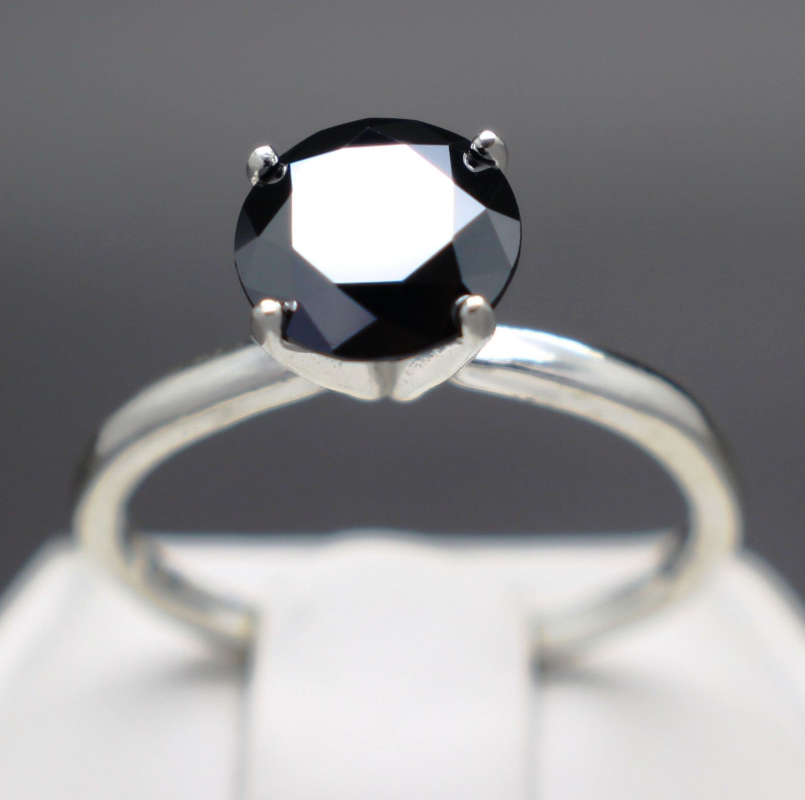 jewelry 1 20cts 6 94mm Natural Black Diamond Ring Certified AAA
