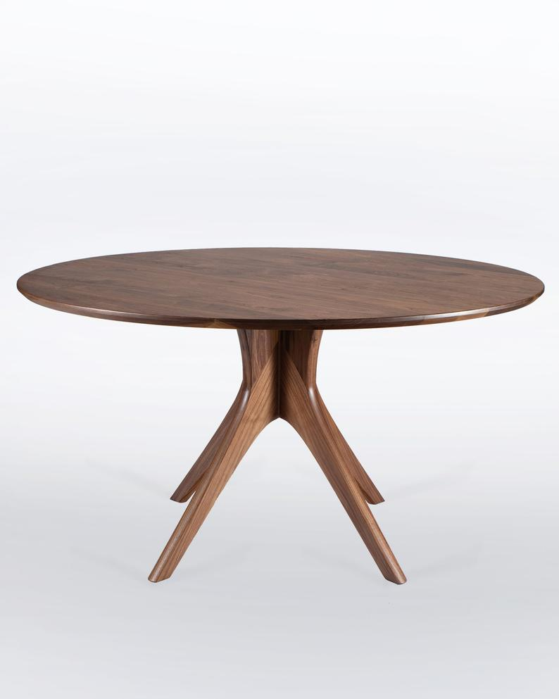Large Round Dining Table In Solid Walnut With Mid Century Modern
