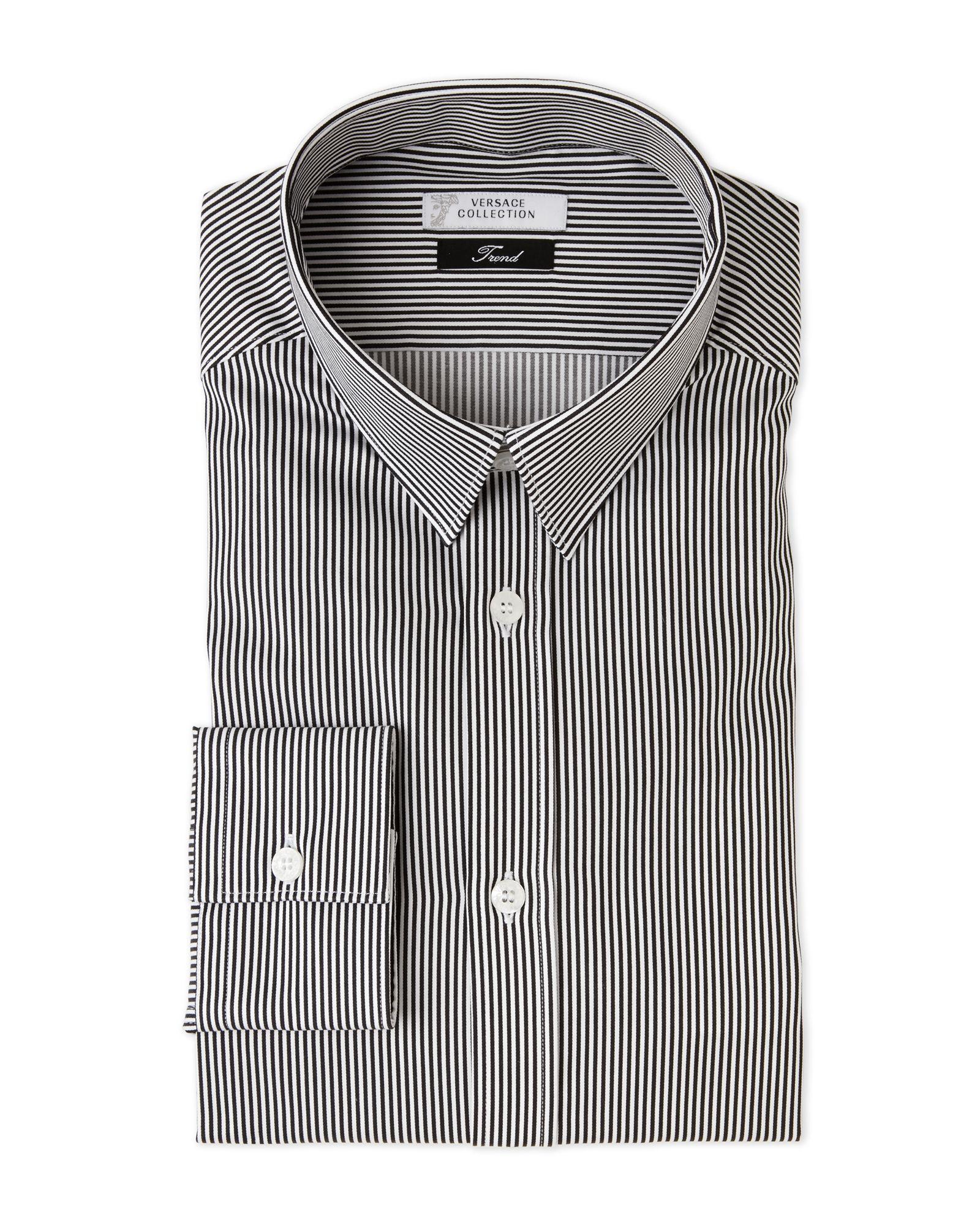 Versace Collection White   Grey Striped Trend Fit Dress Shirt Taillierte  Hemden d259ec7b2c