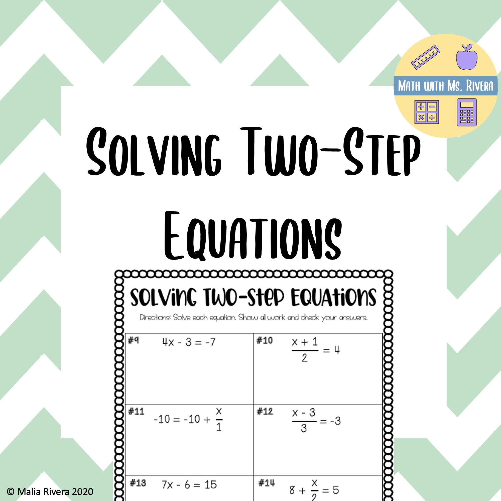 Solving Two Step Equations Worksheet Two Step Equations Equations Solving Equations