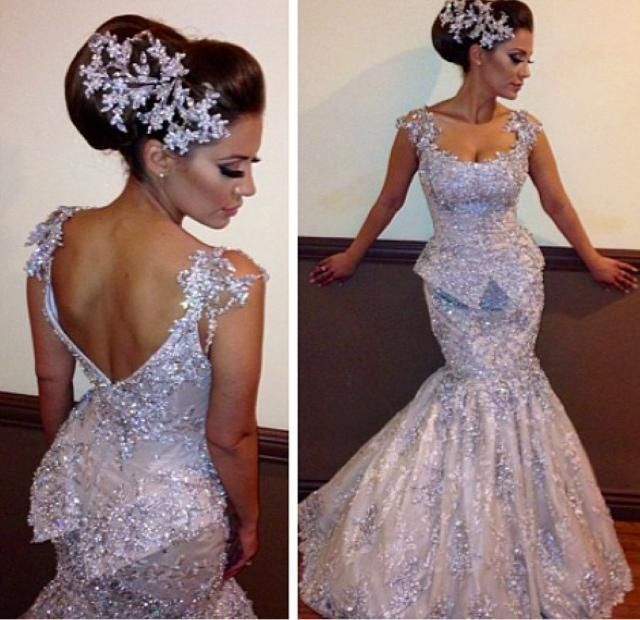 Nice Purple wedding dress with sheer straps beads crystals lace waist peplum mermaid bridal gowns evening