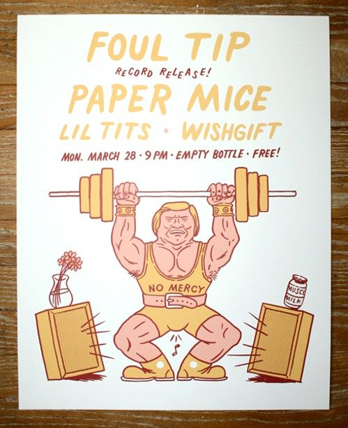 Foul Tip pumps iron on the gig poster of the week - http://www.chicagoreader.com/Bleader/archives/2016/03/23/foul-tip-pumps-iron-on-the-gig-poster-of-the-week