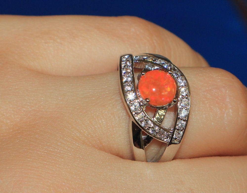 orange fire opal Cz ring gemstone silver jewelry Sz 8 cocktail modern engagement #Cocktail