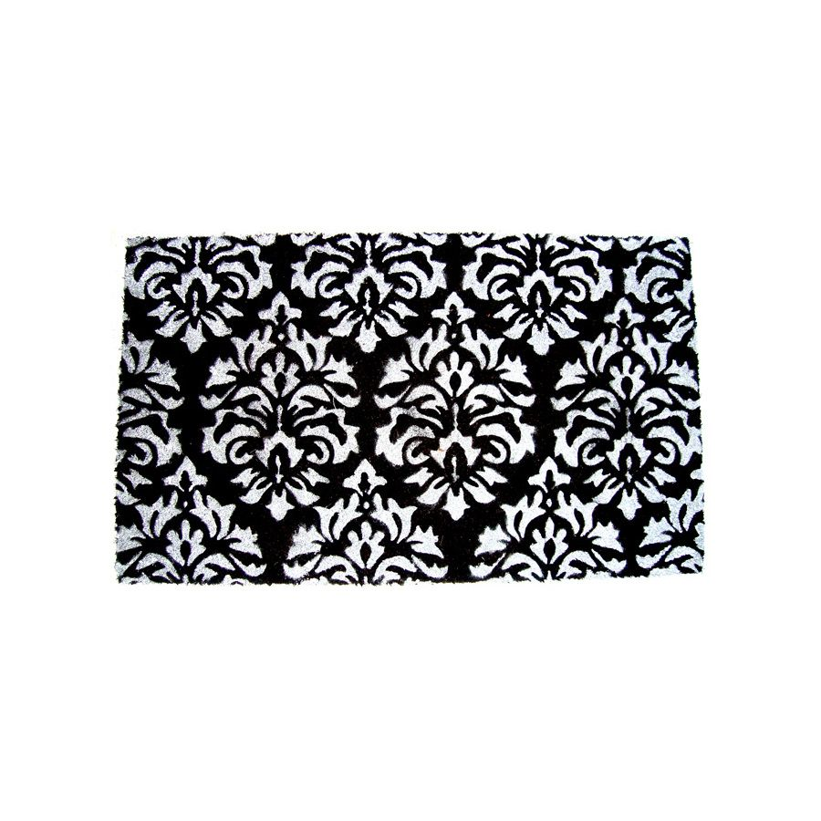 Shop Allen Roth 18 X 30 Black Amp White Damask Door Mat At
