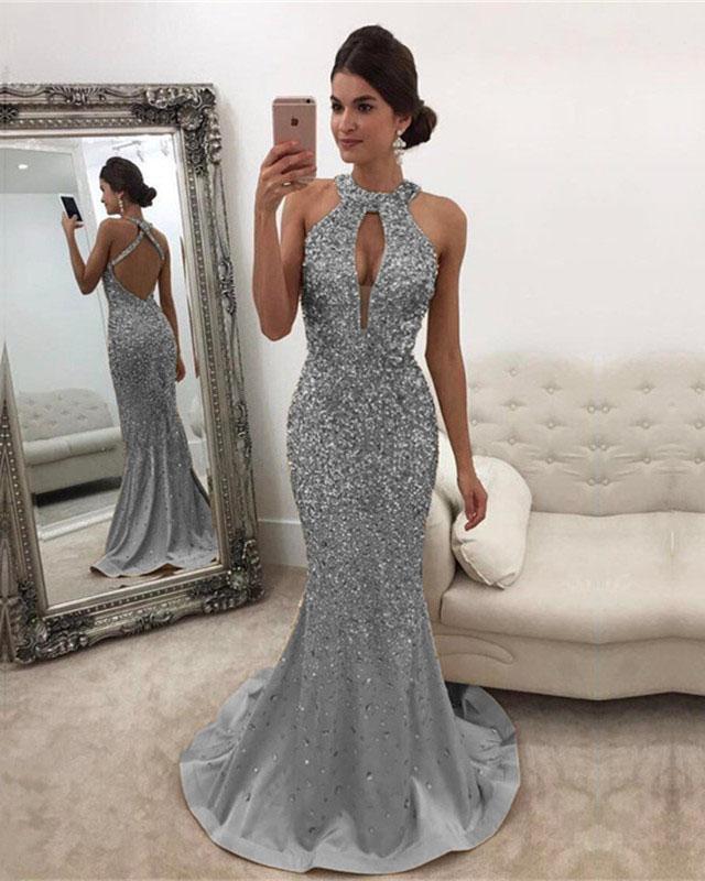 8e9e9d7d80a Item Description   A Glamorous Satin Mermaid Dresses With Halter Neckline  and Open Back