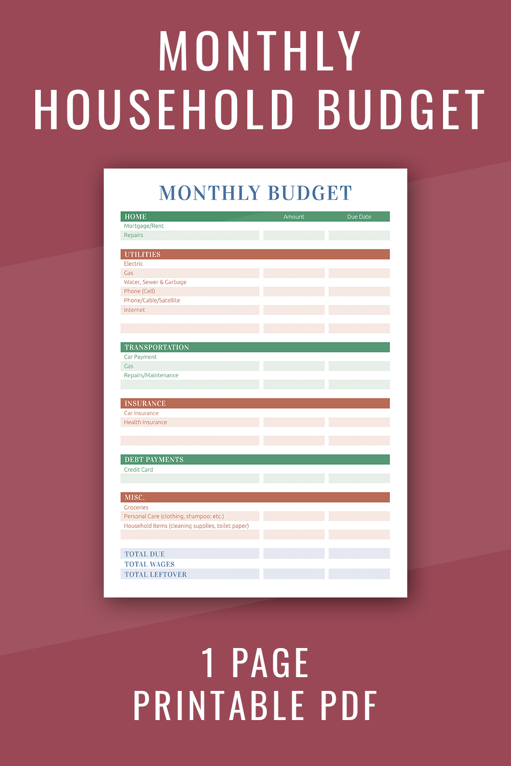 Monthly Household Budget Planner Free Printable Pdf Budget Planner Budget Planner Free Budget Planner Template