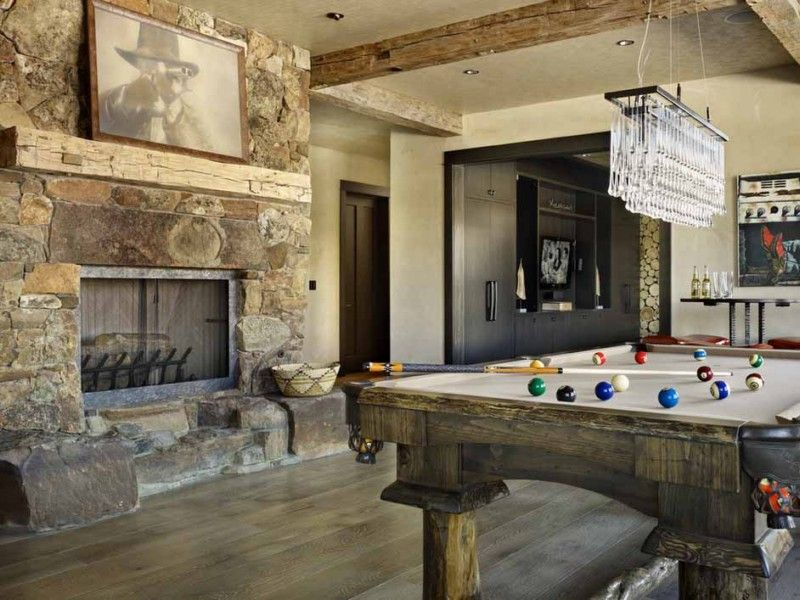 wooden elements in the billiard room with fireplace