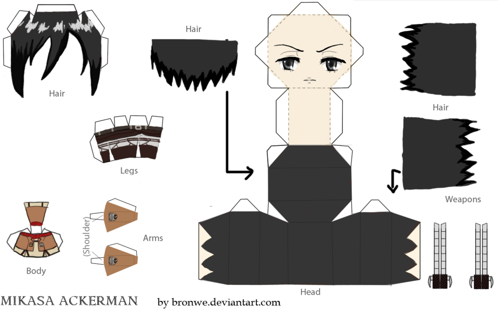Mikasa Ackerman Papercraft Template By BronweDeviantartCom On