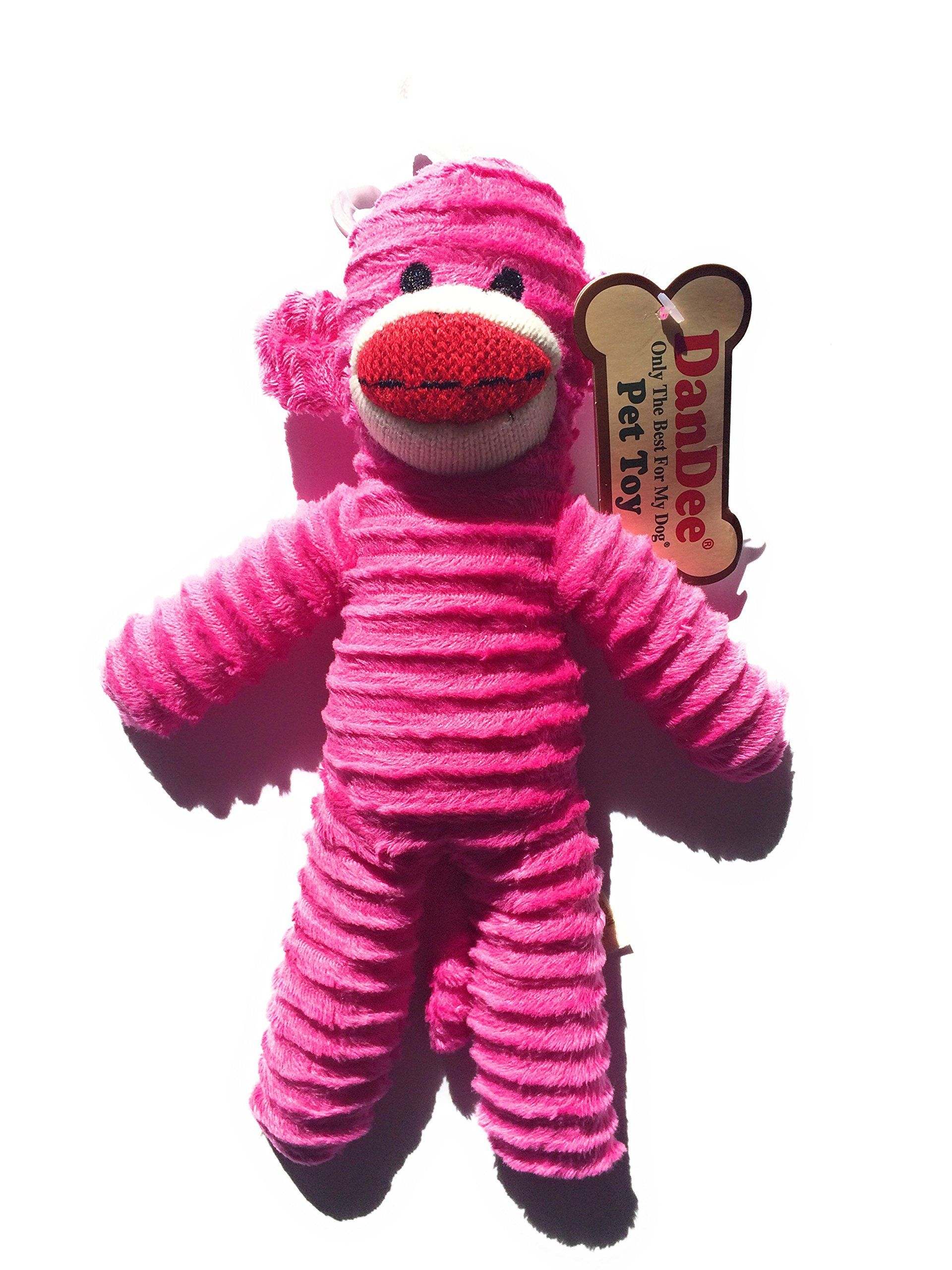 Dandee Only The Best For My Dog Pet Sock Monkey Toy Pink Want