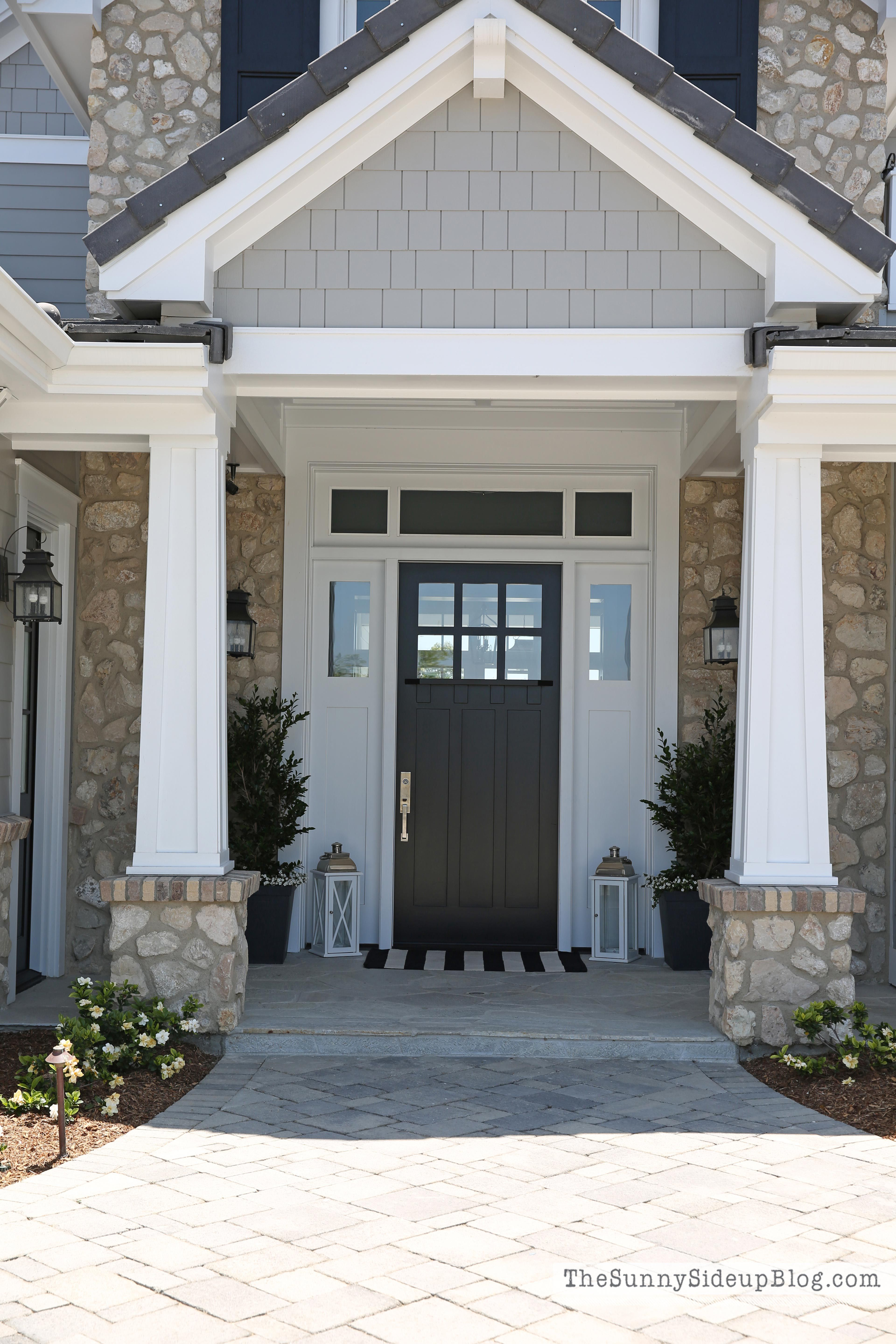 Front door with sidelights and transom - Spring On The Front Porch
