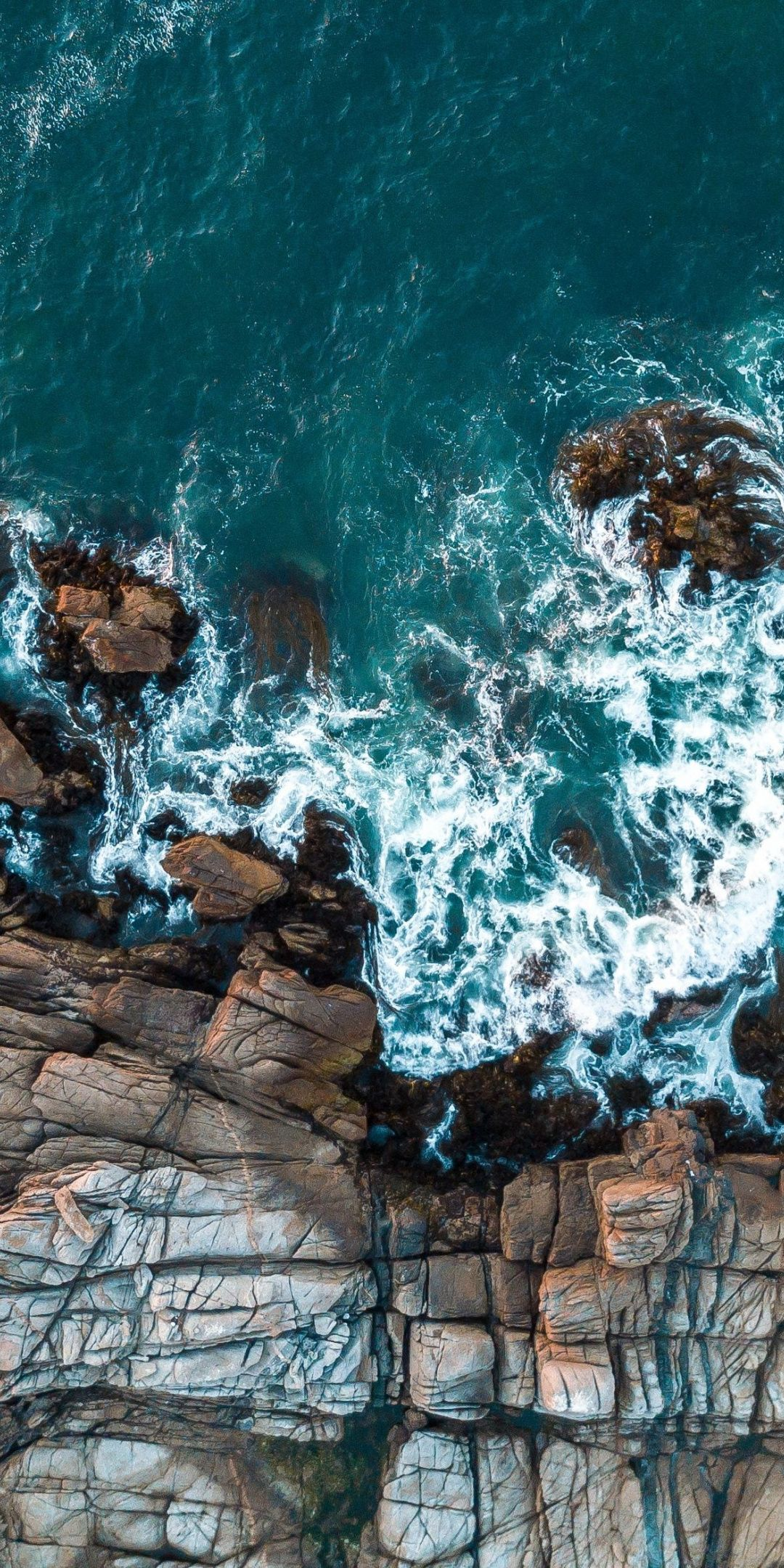Rocks, aerial view, sea, coast Wallpaper Iphone