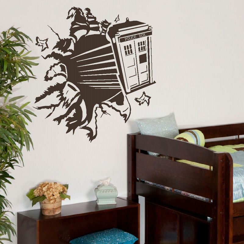 Large Dr Who Tardis Childrens Bedroom Wall Mural Transfer Sticker Vinyl  Decal