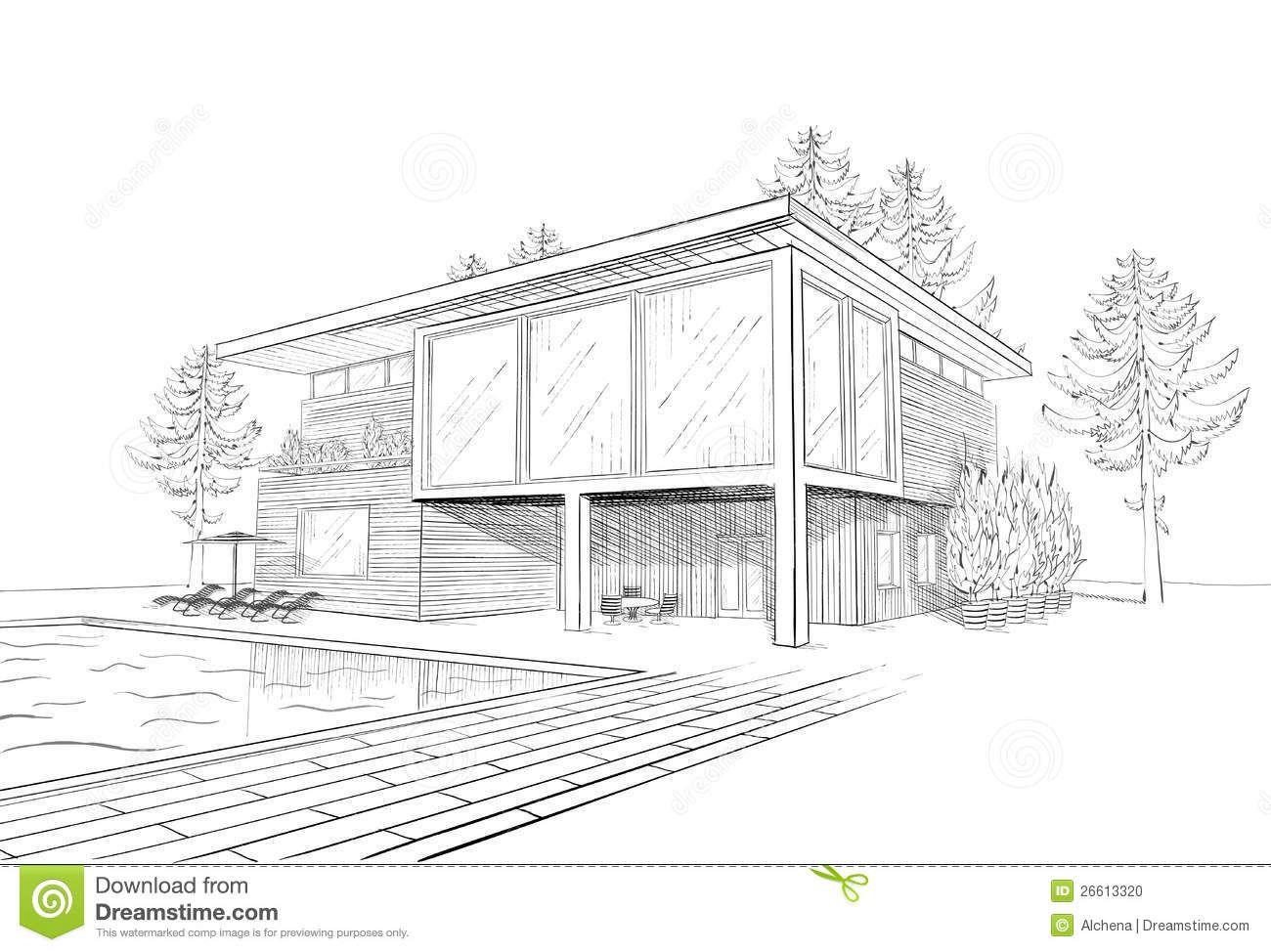 Vector Sketch Modern House Swimmingpool 26613320 Jpg 1300 974 Modern Huis Moderne Huizen Moderne Architectuur