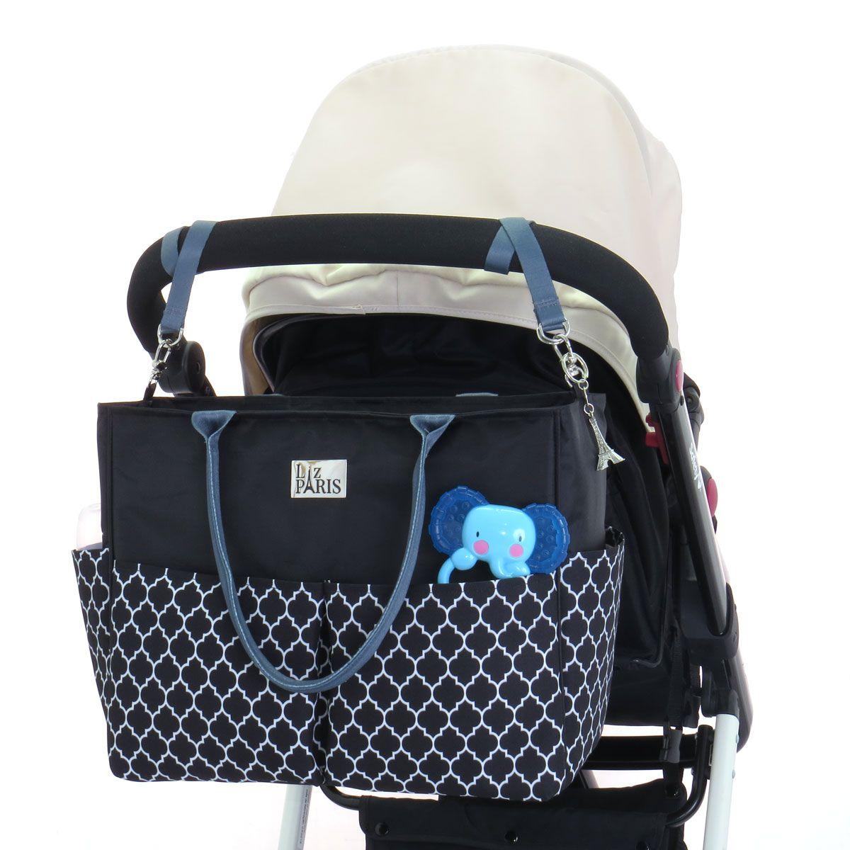 e45e8ec10 Bolsa de bebê Liz Amour - Preta com estampa | Bolsa de bebê