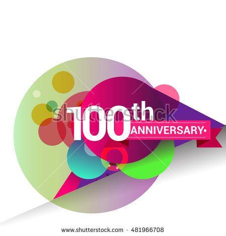 100th anniversary logo colorful geometric background vector design