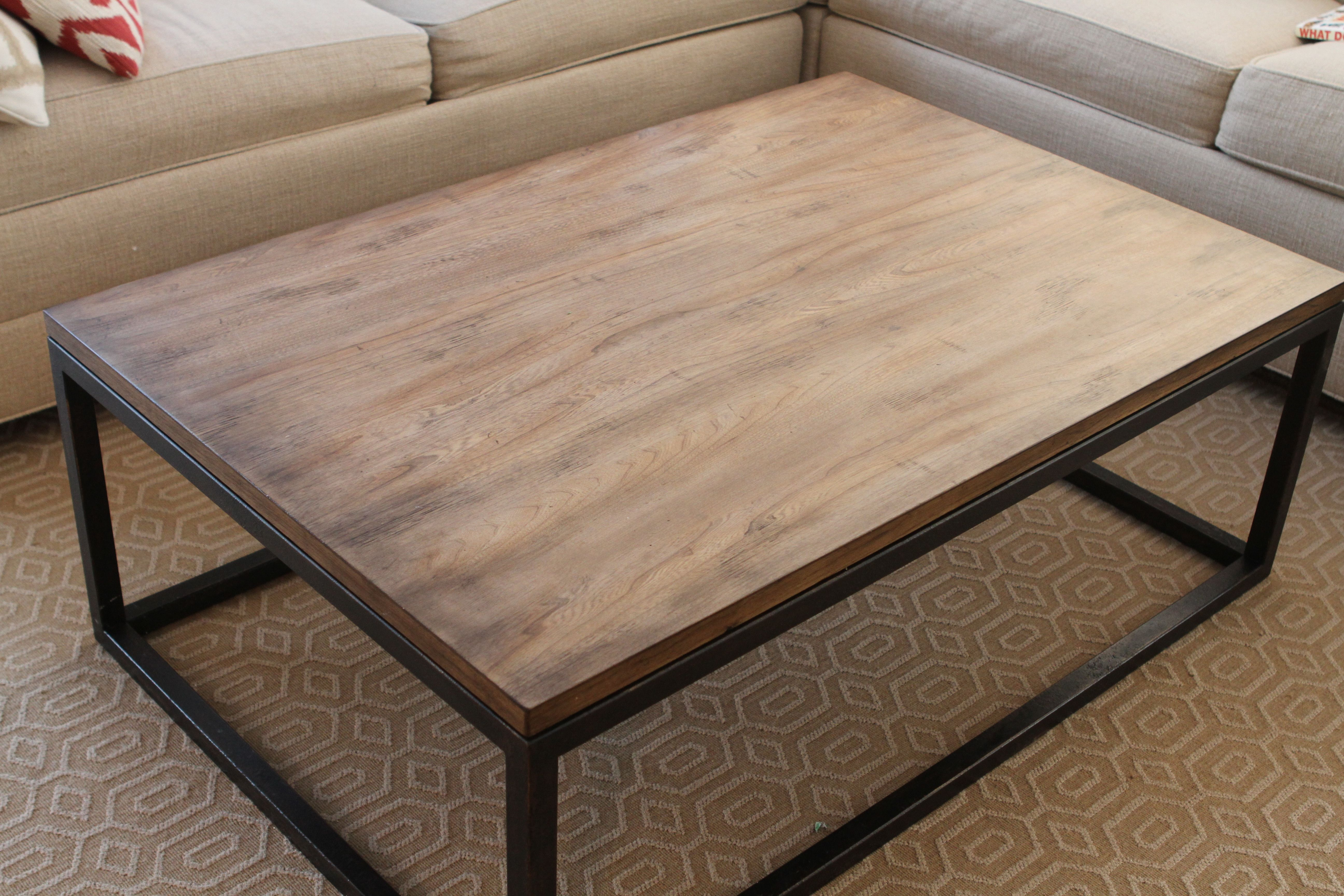 Superb INDUSTRIAL   Wood Coffee Table With Metal Legs.