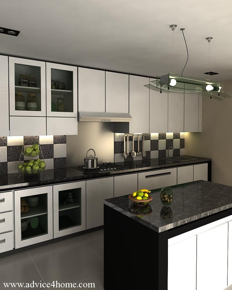 Attrayant Kitchen Checkered Tile Backsplash In Black And White Galley Kitchen With  Detolf Glass Door Cabinets Colorful Pendant Lamps For Excellent Black And  White ...