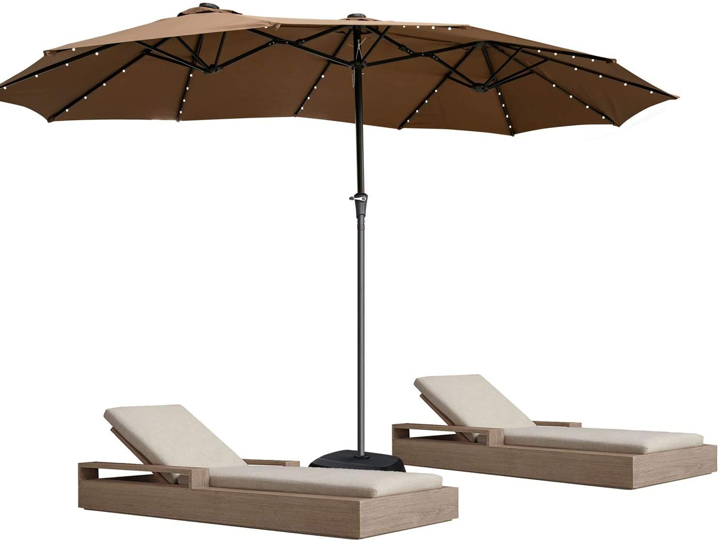 Double Sided Umbrella With Led 15 Ft Large Patio Umbrella Outdoor Twin Umbrella Umbrellas Doit
