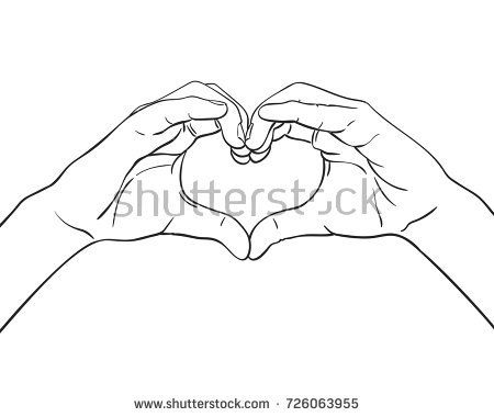 Sketch Of Hands Showing Heart Shape Gesture Hand Drawn Vector