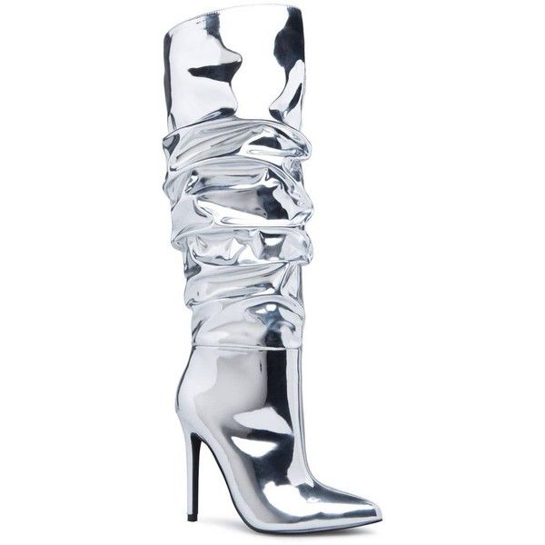 8a9383d6b24 ShoeDazzle Boots Hadlee Heeled Boot Womens Silver ❤ liked on Polyvore  featuring shoes, boots, silver, pointy-toe boots, silver party shoes, pointy  toe ...