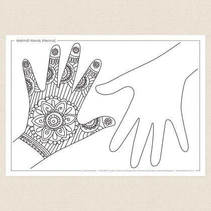 Mehndi Hands Henna Activity Sheet Cleverpatch Hand Henna Hand Art Henna