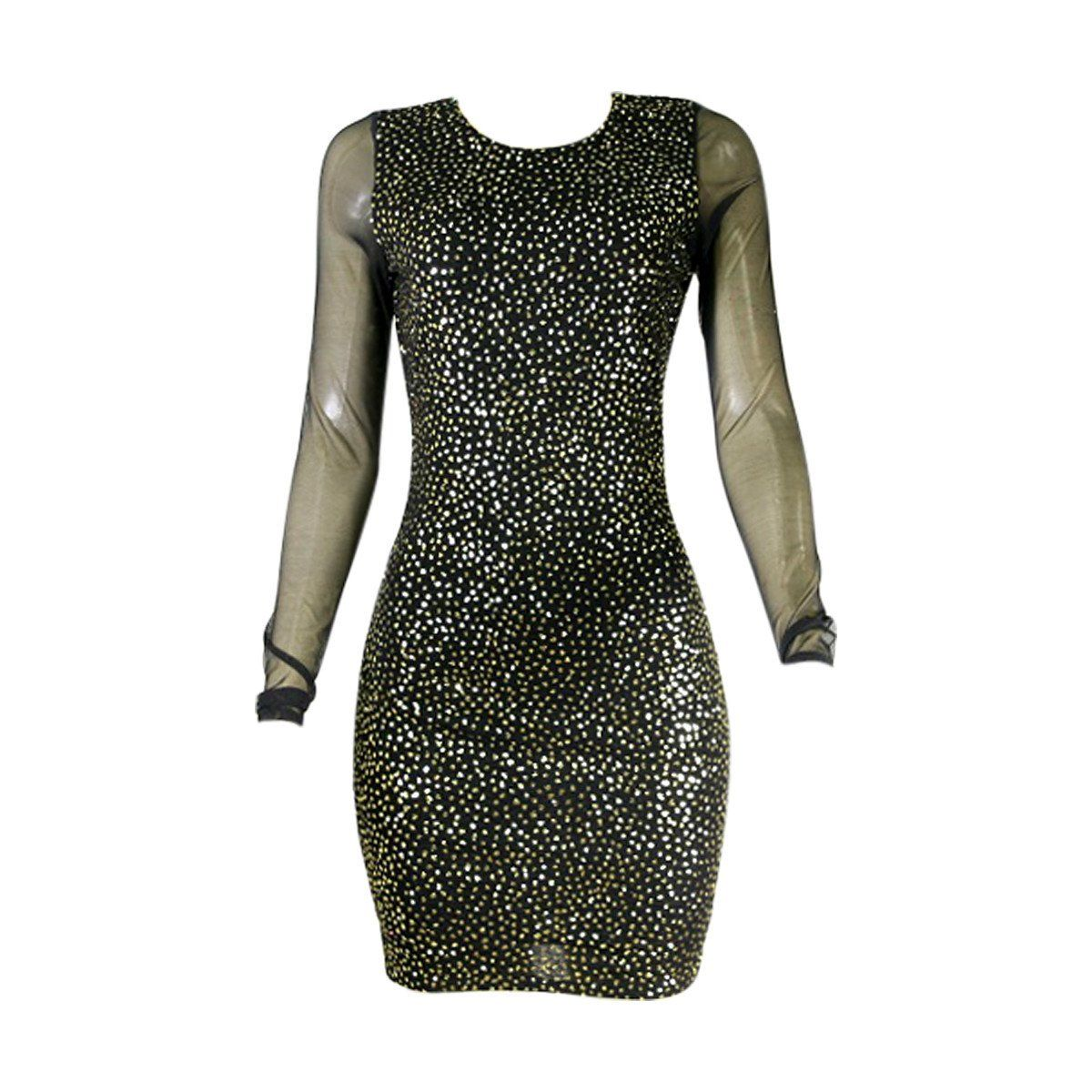 Aa at aa womenue lurex glitter mesh sleeves dress blackgold