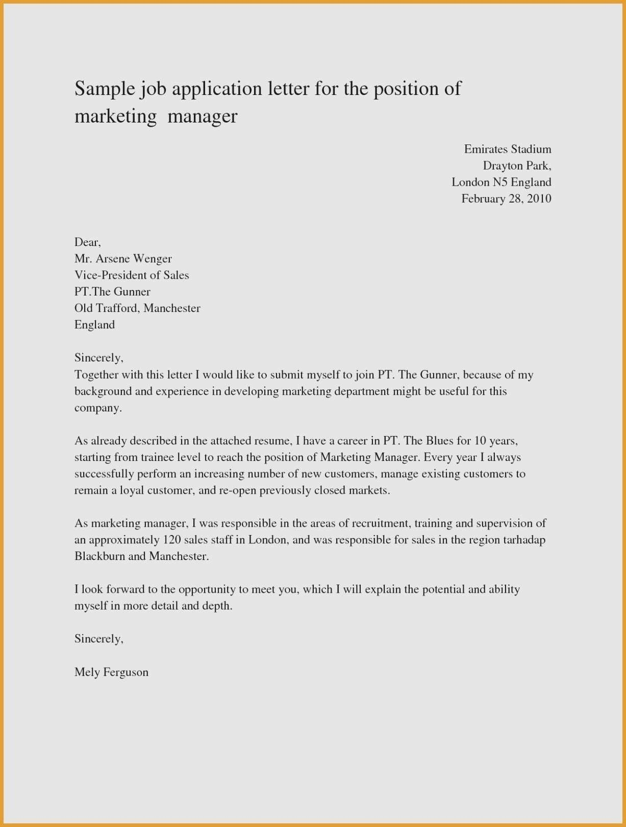 New Example Of Application Letter For Applying A Job Job