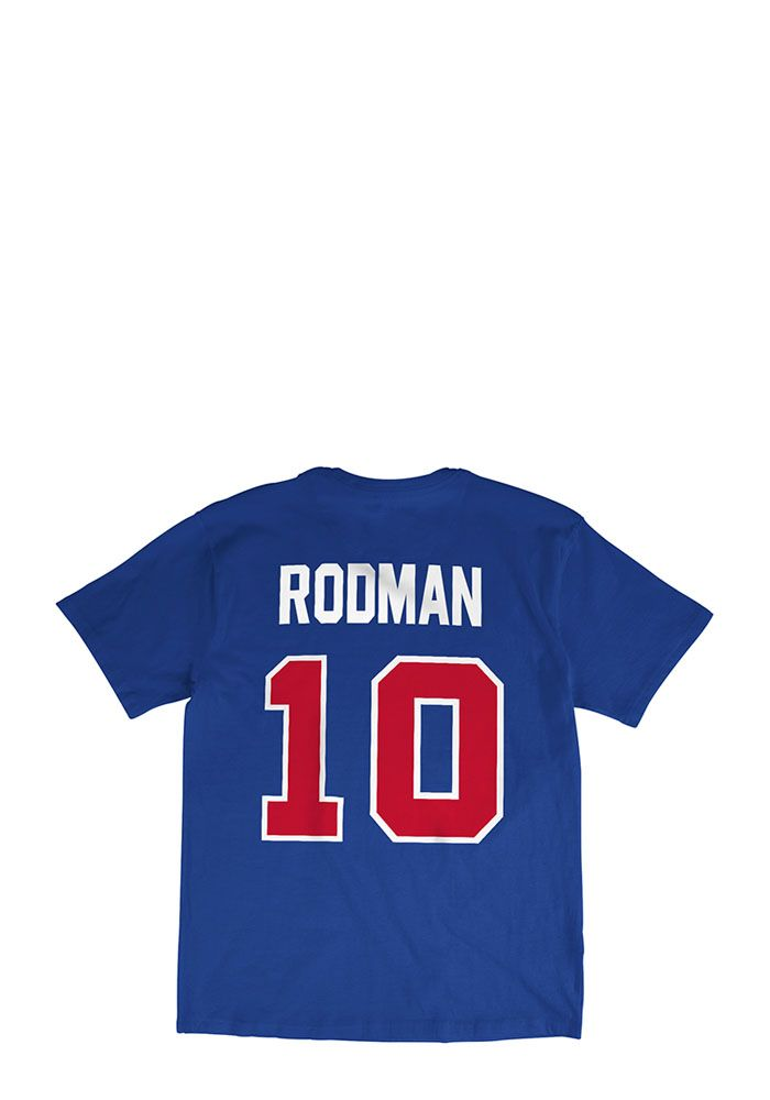 half off 24ceb 410bb Dennis Rodman Detroit Pistons Blue Player Short Sleeve ...